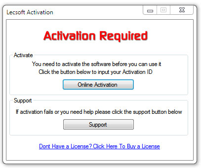 Open the software and the activation screen should appear. Click the  Support button fc87715ef3